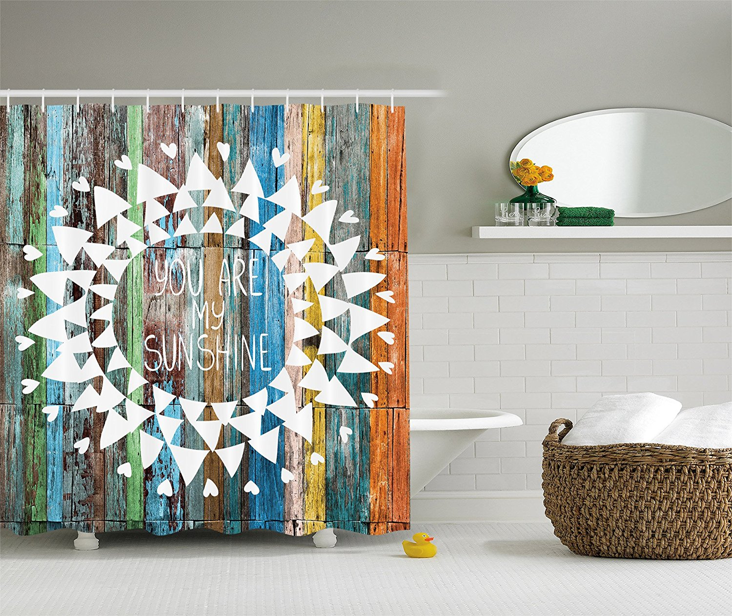 Love Quotes You Are My Sunshine On Wooden Planks Sun Lights, Polyester  Fabric Bathroom Shower Curtain Set With Hooks In Shower Curtains From Home  U0026 Garden ...