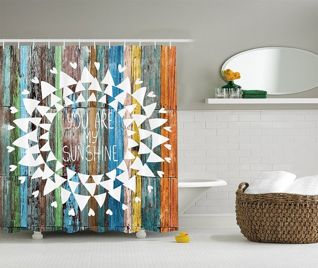 Love Quotes You Are My Sunshine On Wooden Planks Sun Lights Polyester Fabric Bathroom Shower