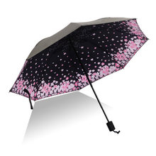 Yesello Cherry Blossoms Folding Umbrella Rain Women Gift Pencil Pocket Parasol Girls Anti-UV Waterproof Portable Travel Umbrella(China)