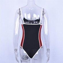 Women Bodysuit Backless Black Side Stripe Color Combination