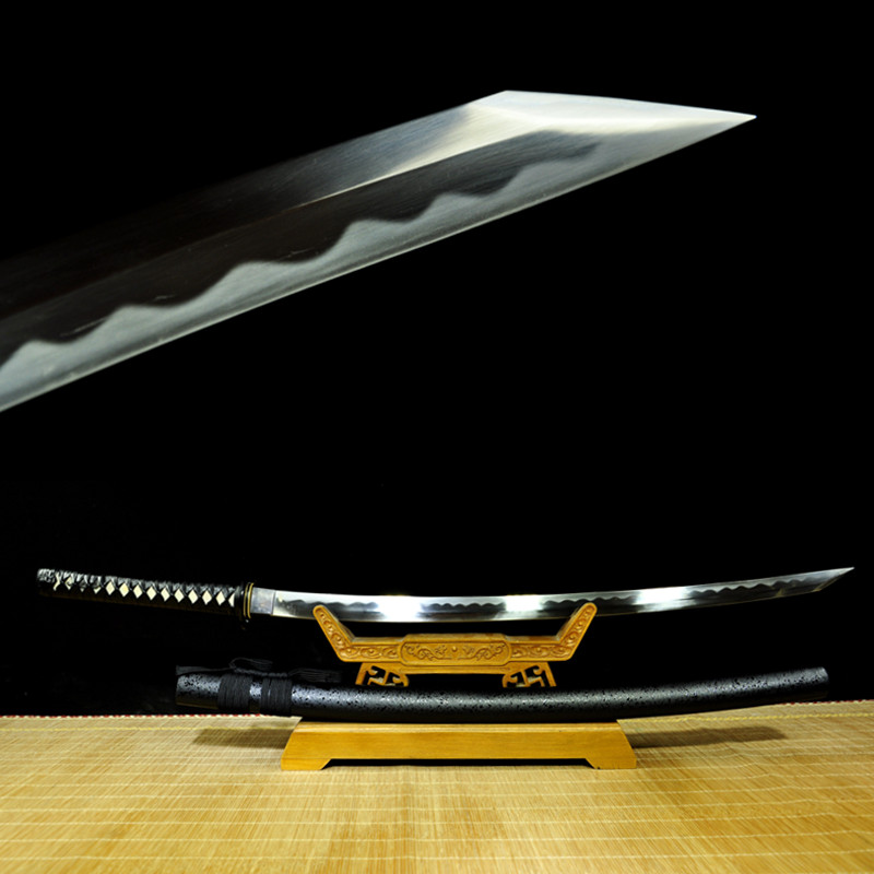 Handmade Real Sharp Japanese Samurai Reverse Katana Sword Full Tang Blade Battle Ready