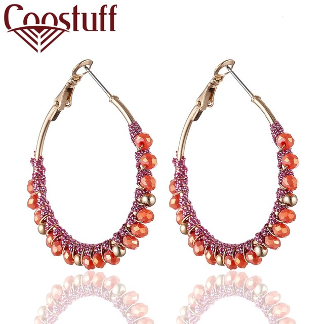 New Arrival Crystal Beads Hoop Earrings For Women Handmade Gold Beautiful Unicorn Boucle Oorbellen