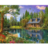 HOME BEAUTY 5d Diamond Embroidery Coss Stitch Kits Lake Cabin Diamond Mosaic Painting Paint Pictures Decor