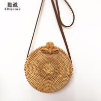 Round Straw Bags For Women Summer Beach Shoulder Bag Rattan Handmade Woven Crossbody Circle Bag Bohemia