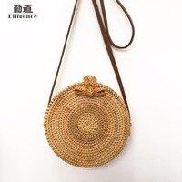 Round Straw Bags For Women Summer Beach Shoulder Bag Rattan Handmade Woven Crossbody Circle Bag Bohemia