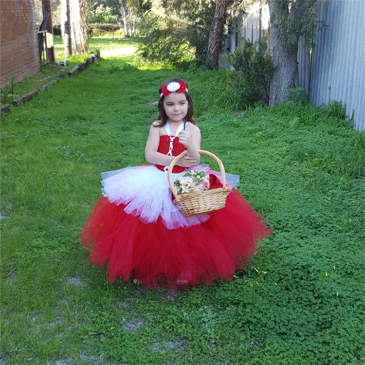 New Children Red and White Christmas Dress for Toddler Tutu Style Halloween Girls Little Red Riding Hood Costume Child
