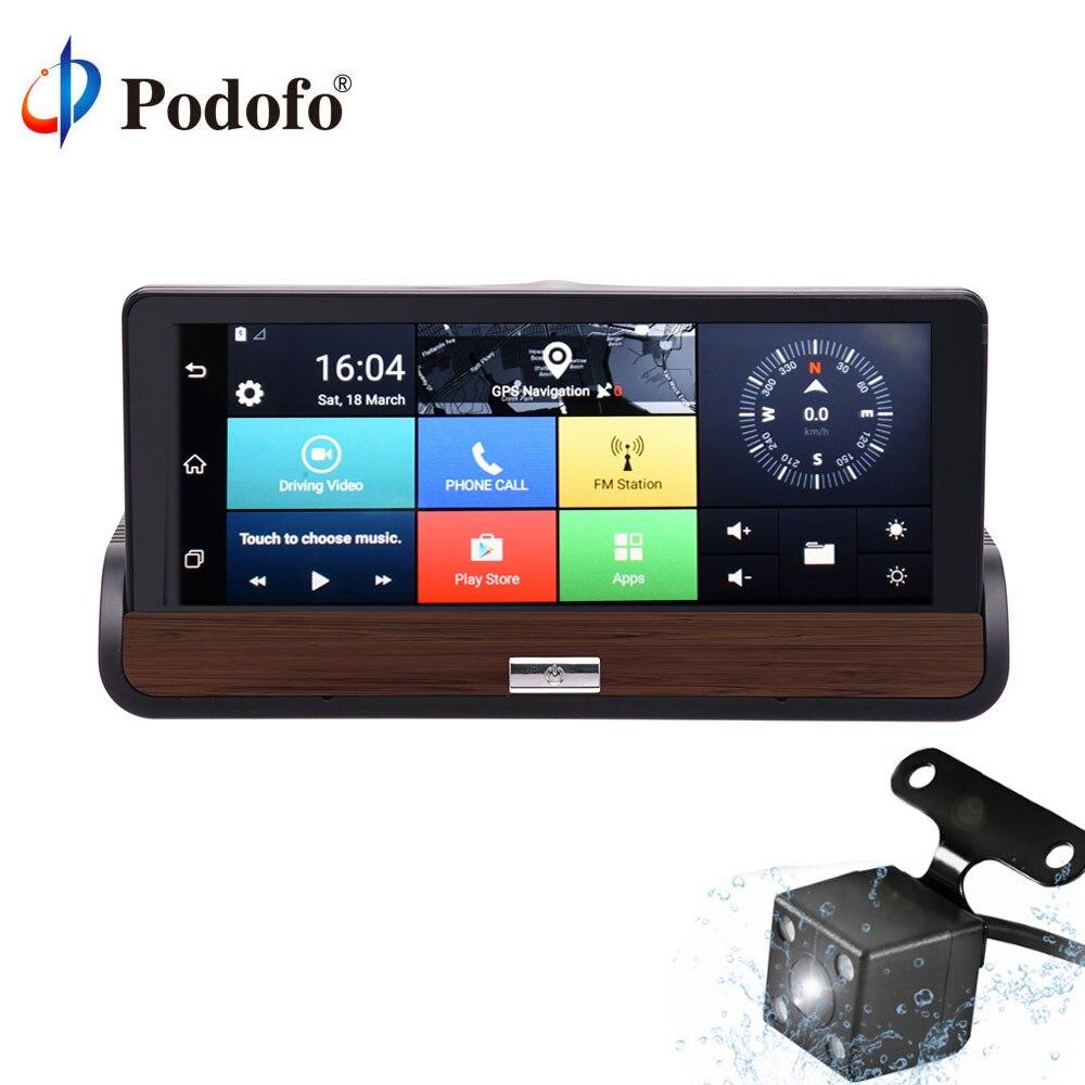 Podofo 7 ''Android 3G Touch Screen Specchio Retrovisore Cruscotto Dell'automobile DVR GPS Bluetooth Wifi AutoVideo Registratore HD 1080 P Doppia Fotocamera