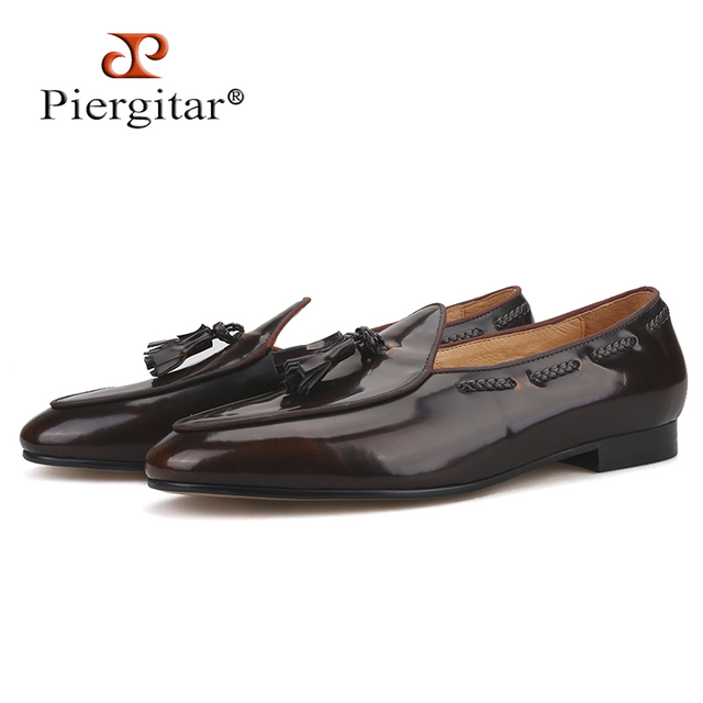 Piergitar 2019 dark brown hand polished calfskin BELGIAN LOAFERS with matching tassels ITALY designs handcrafted mens loafers