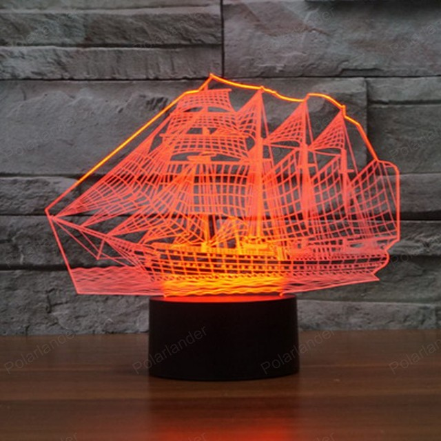 Sailboat Acrylic 3D Lights Touch Table lampe 7 Colors Changing 3D ...
