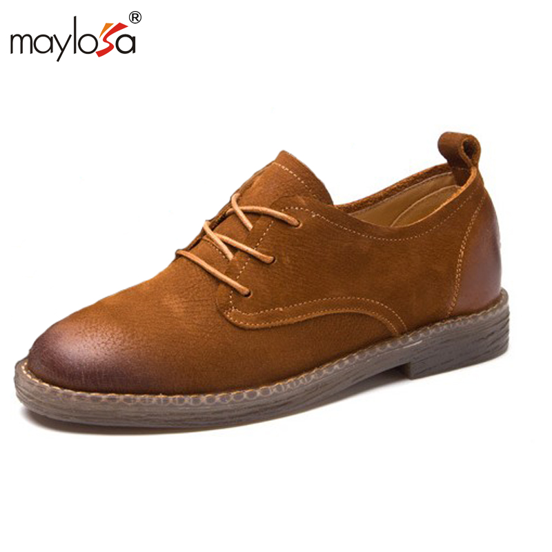 MAYLOSA Oxford Shoes for Women 2017 Genuine Leather Shoes Woman Lace up Oxfords Flat Shoes Women Plus Size phyanic summer style shoes woman 2017 new gladiator sandals platform flats fashion creepers women flat shoes 3 colors phy4044