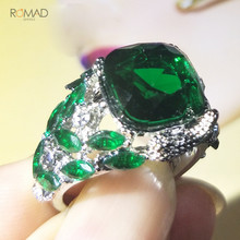 Romad Green Stone Vintage Rings For Women Bird Silver Wedding Crystal Ring Luxury Jewelry 2019 Bague Femme W3