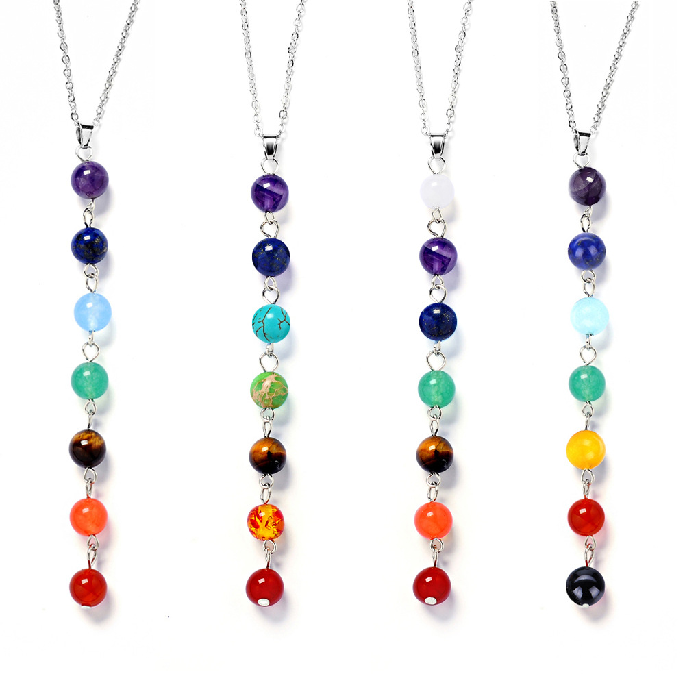 7 Chakra Stone Yoga Necklace Raw Quartz Natural Stone Dowsing Pendulum Necklaces Reiki Rainbow Jewelry