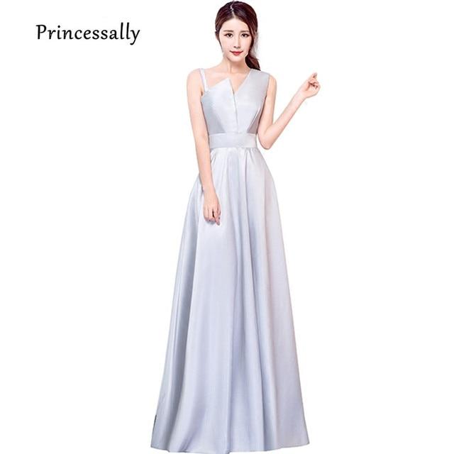 582fcbfbc54 Элегантное серое платье подружки невесты длиной до пола атласное с бретелями  красное платье вечерние для выпускного