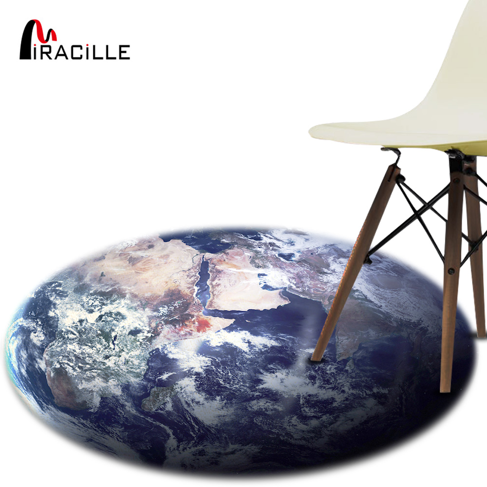 Miracille Outer Space Star Earth Pattern Soft Thicken Coral Velvet Round Carpet and Rug for Kids Living Room Non-slip Floor Mats