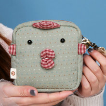 New dot patch funny small wallet female square bag cute net red coin girl student cloth money change carry key