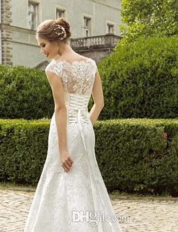 3215249b5bf90 Elegant Off Shoulder Lace Wedding Dresses Sheer Capped Sleeves Fit ...
