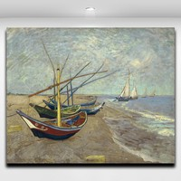 Fishing Boat On Beach By Vincent Van Gogh Famous Painting Frameless Canvas Painting Walll PIcture For