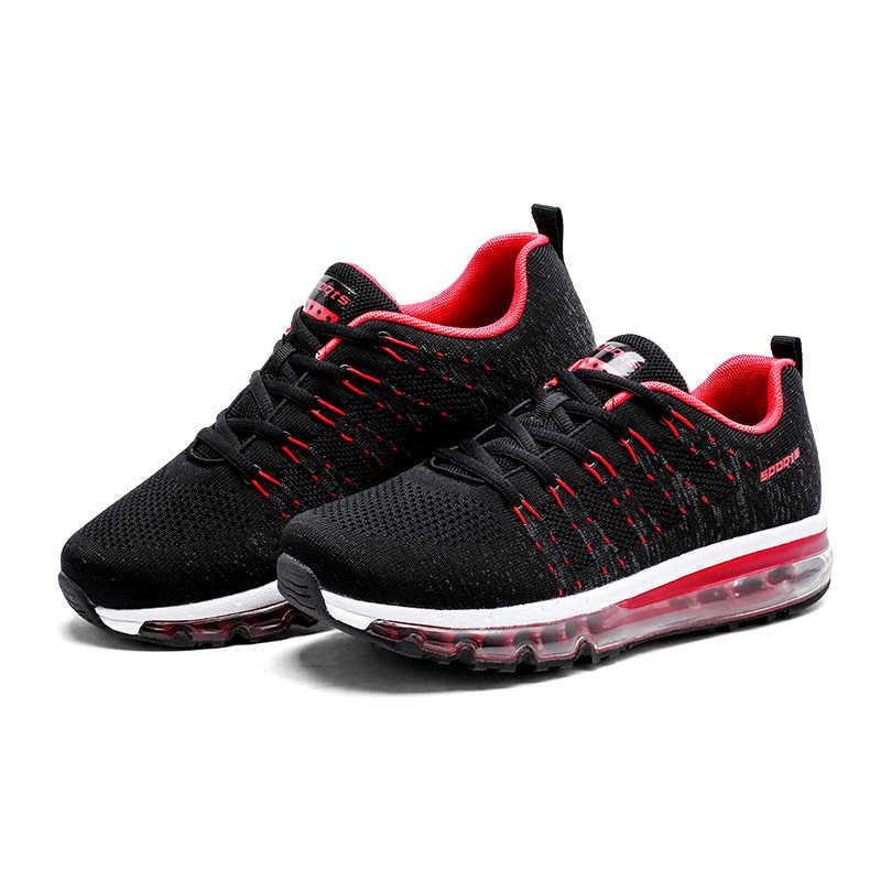 سنتا الرجال وسادة هوائية احذية الجري تنفس خفيفة الوزن أحذية رياضية في الهواء الطلق الرياضة النساء المشي أحذية رياضية الركض عداء 45
