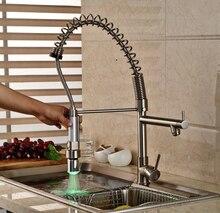 Матовый Кухня Раковина Краны Поворотный Спрей Одной Ручкой Горячей и Холодной Воды Кран С LED