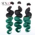 Green Ombre Peruvian Virgin Hair Body Wave 3 pcs lot 100% Peruvian Human Hair Weave Bundles Two Tone Ombre Hair Extensions