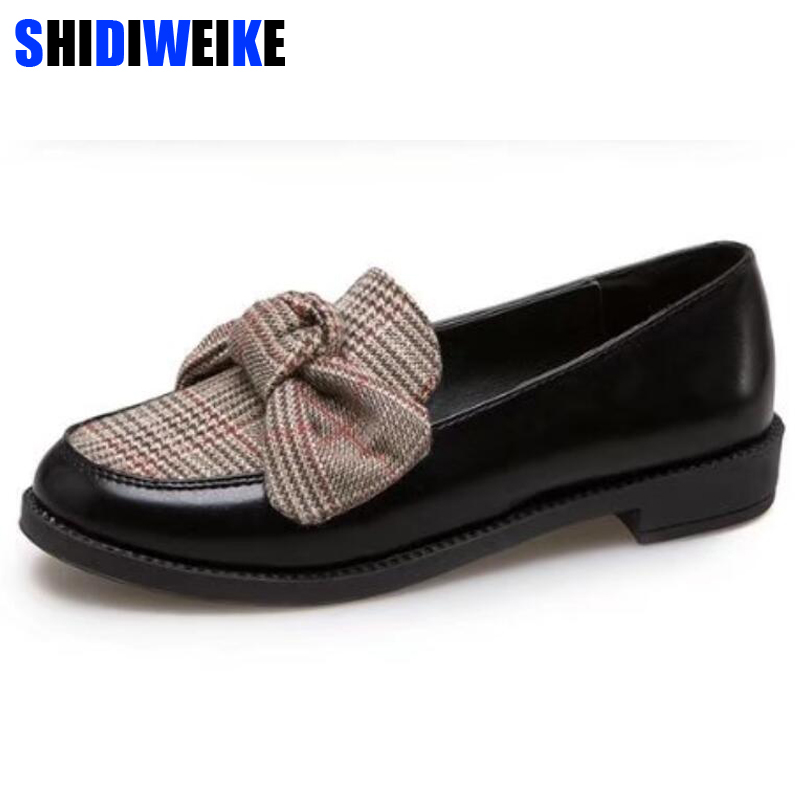 Women Leather Loafers Fashion knitting Butterfly-Knot Casual Flats Shoes Woman Slip On Female Shoes black Moccasins m379 beyarne genuine leather shoes women butterfly knot loafers women flats ballet autumn winter casual flat shoes woman moccasins