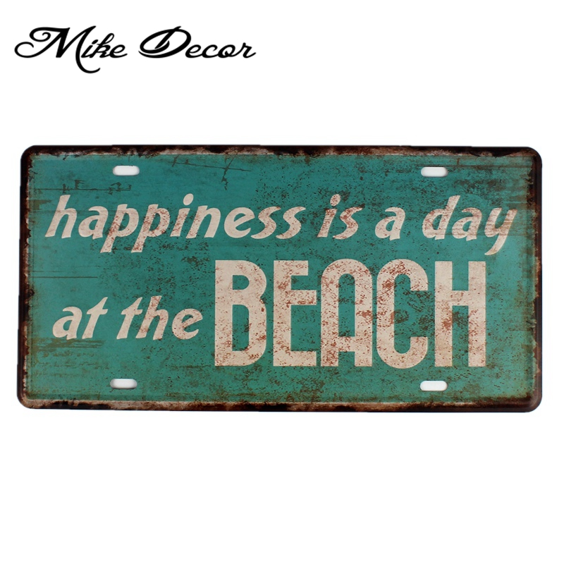 [ Mike86 ] Happiness is a day at the Beach Painting decor Vintage Gift Craft Metal sign Cafe decoration D-617 30*15 CM