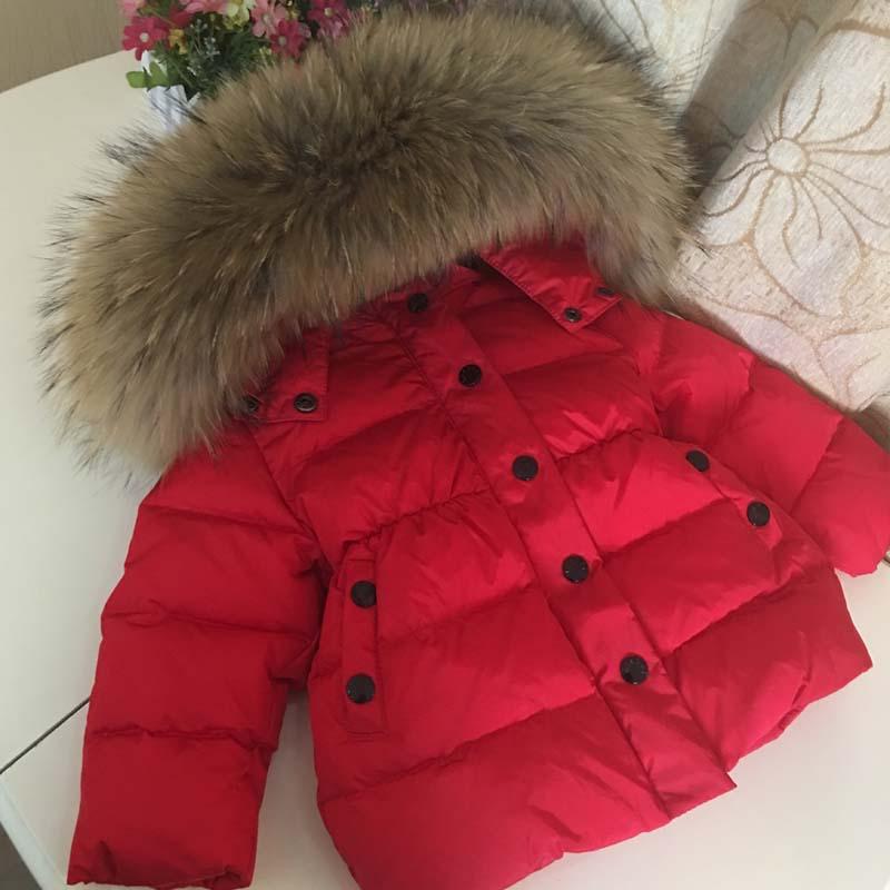 2018 Children Winter Down Jacket for Girls Boys Kids Duck Down Jacket Coat Big Raccon Fur