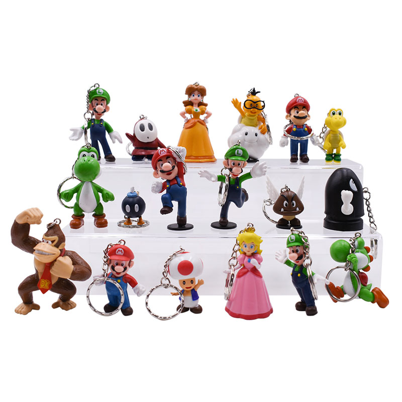 18 Pcs/lot Anime Super Mario Bros Keychain Peach Donkey Kong Yoshi Luigi Toad PVC Action Figure Doll Collectible Model Toy