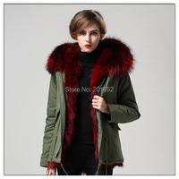 Winter Ladies' Genuine fox fur /rabbit fur parka Womens with big raccoon collar Outerwear mr mrs fur Coats Parka