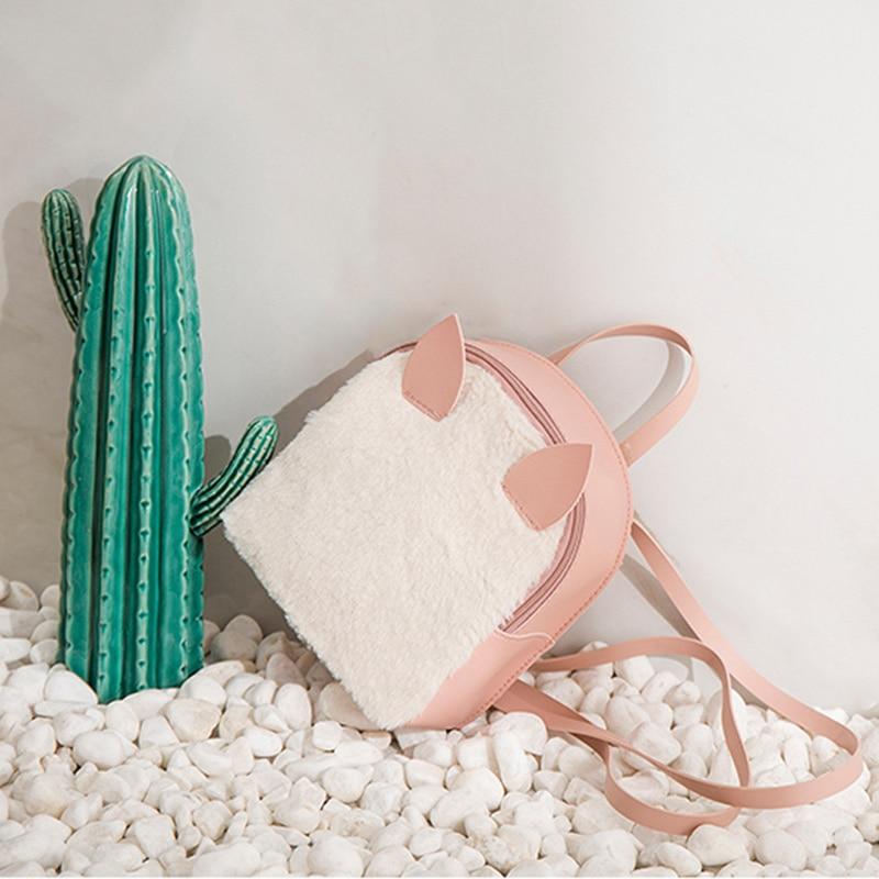 Women Mini Backpack Girls School Bags Plush Pu Leather Cute Animal Ear Backpacks New