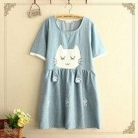 יפני מתוק Kittys צבעים מודפסים קריקטורה חמוד מיני נשים שמלת קיץ O-צוואר שרוול קצר כותנה שמלות Vestidos שמלת J039