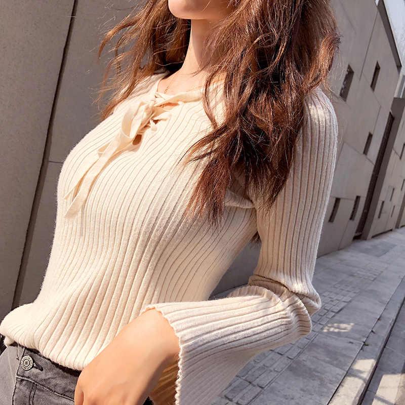 Свитер пуловер женский Осень 2018 новая Корейская версия длинный рукав тонкая нижняя рубашка Топ трикотажная рубашка Женская мода MX17D5130