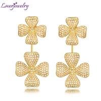 Royal Women Diamond Engagement Earrings Luxury Drop Earrings 18Kt Yellow Gold For Sale Wife Fine Jewelry