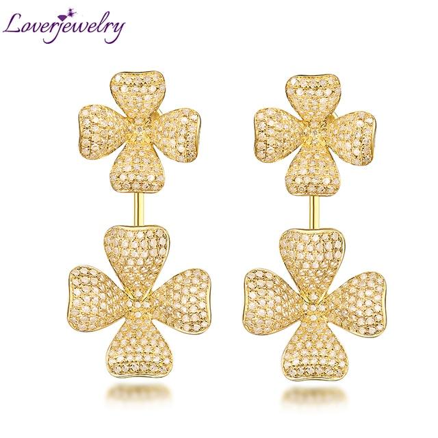 Royal Women  Diamond Engagement Earrings,Luxury Drop Earrings 18Kt  Yellow Gold For Sale Wife Fine Jewelry Gift Wholesale