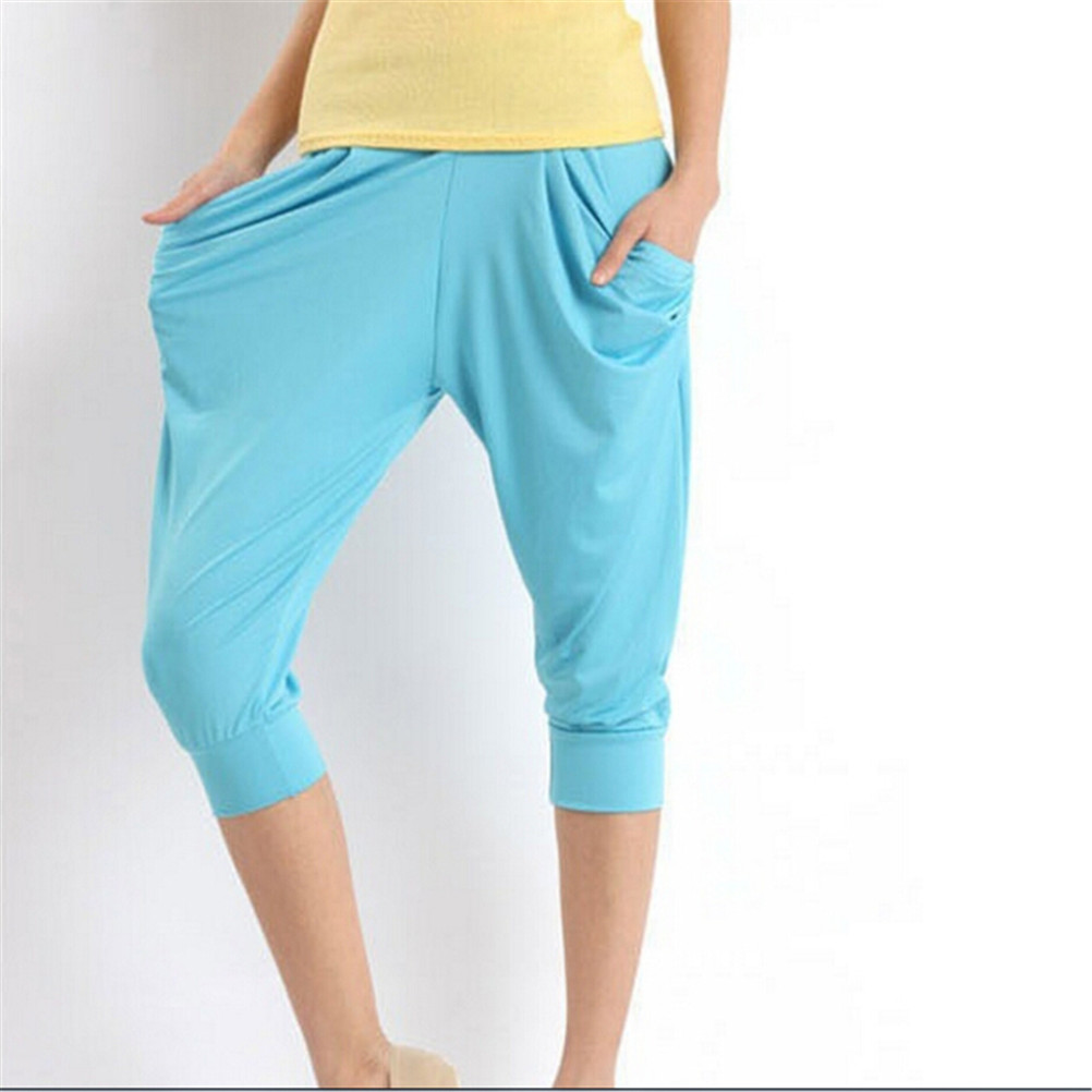 Women Ice Silk Short Legging Harem Loose   Pants   Summer 7/10 Harem Maxi   Capri     Pants   Candy Color