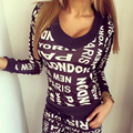 2016 Autumn Loaded Cotton With The New Set Of V Collar Long Sleeved Letter Printing Irregular Top Fashion Pants Leisure Suit