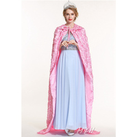 Princess Rose Pink Cloak for Women ,Full Length 71 Ponchos Lace up Robe Medieval Cape Cosplay Party Costume Pageant Cloak Cape