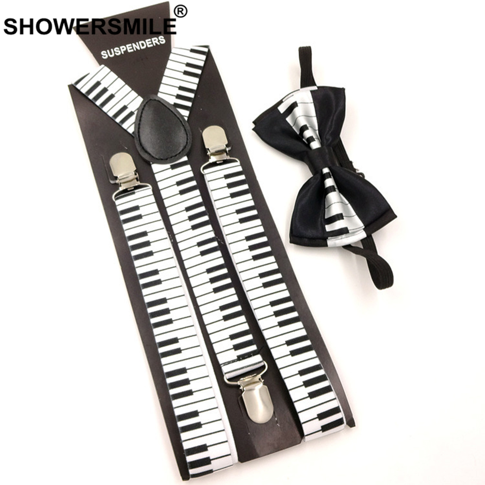 SHOWERSMILE Music Suspenders Bow Tie Men Keyboard Pattern Braces For Trousers Fashion Perform Black White 100cm Male Pants Strap