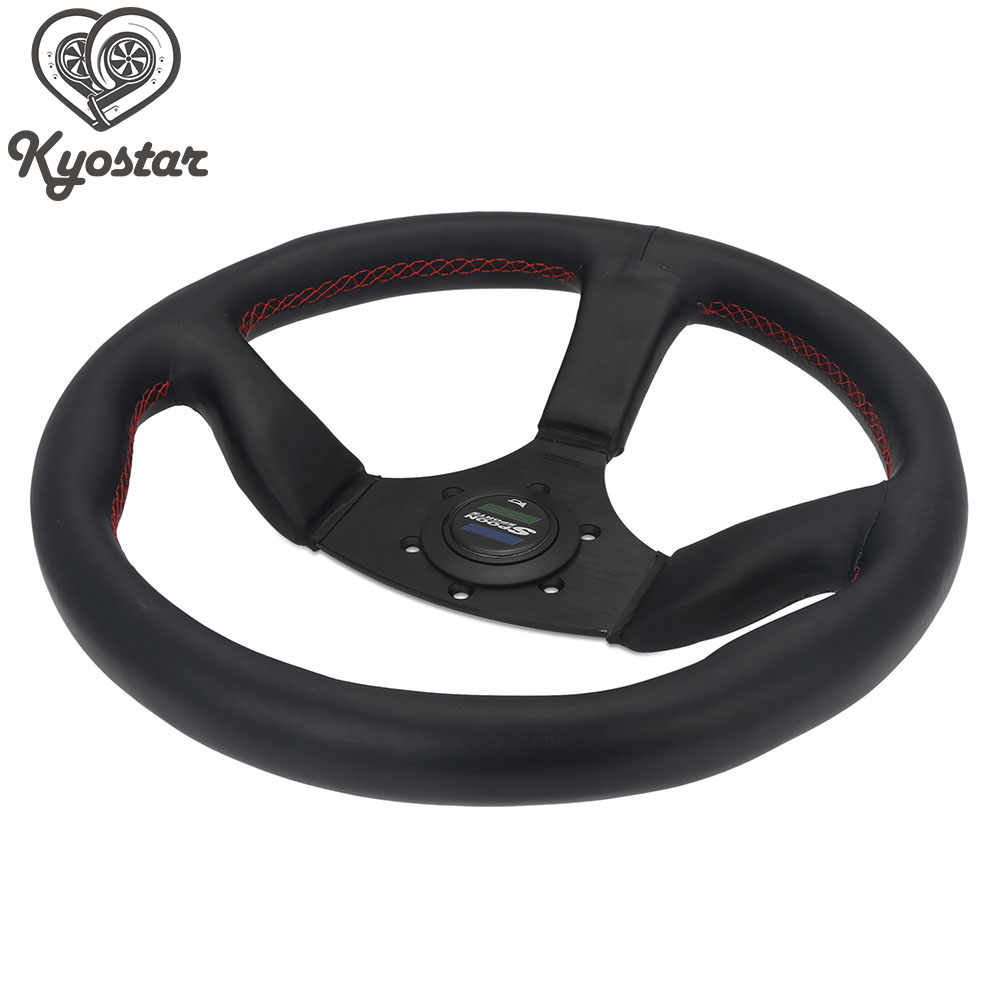 Universal 350mm 14 Inch Flat Steering Wheel With Horn Button Automobile Race Leather NOB Classic Steering