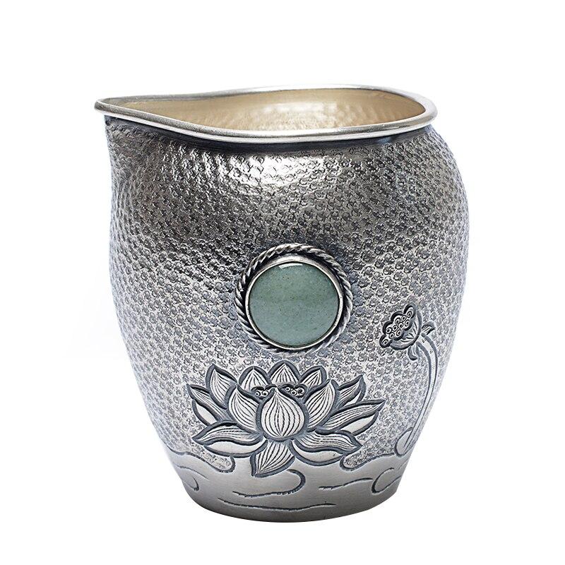 Jade Heat Insulation Pure Silver Gongdao Cup S999 Silver Handmade  Tea Seaware Accessories Tea Separator