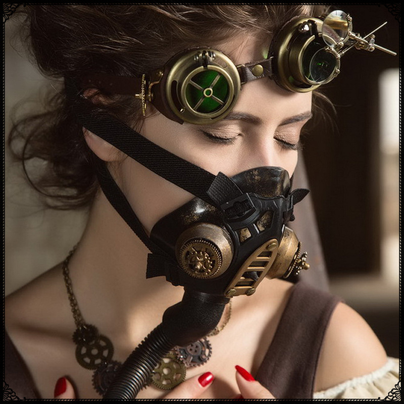 Women Steampunk Gas Mask Cosplay Halloween Costume -3023