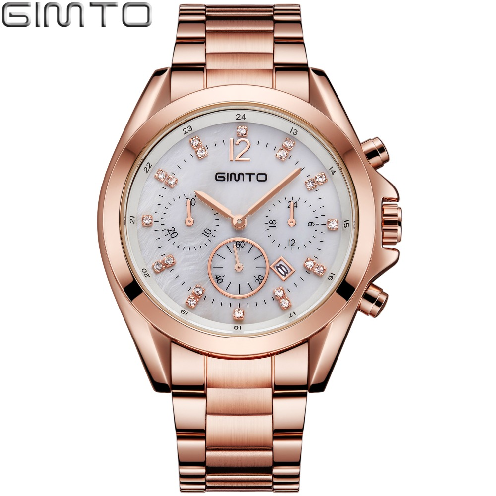 GIMTO 2018 Brand Women Watches Luxury Crystal Rose Gold Quartz Ladies Watch Steel Female Date Clock Waterproof relogio feminino watch women luxury brand lady crystal fashion rose gold quartz wrist watches female stainless steel wristwatch relogio feminino