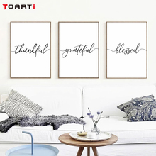 Motivational Family Quotes Posters Prints Thankful Grateful Blessed Letters Canvas Painting On The Wall Home Decor Modern Art