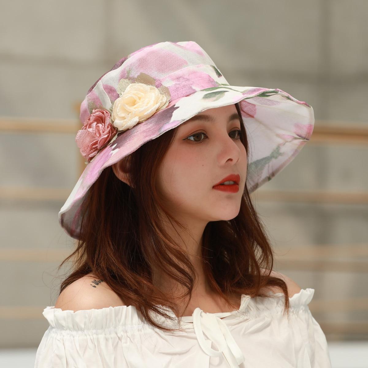 Fashion female summer new graffiti watercolor organza big edge visor collapsible sun protection basin cap cloth hat in Women 39 s Sun Hats from Apparel Accessories