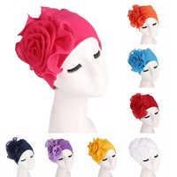 Big Flower Women Turban Hat Muslim Headscarf Pile Heap Cap Women Soft Comfortable Hijab Caps Islamic Chemotherapy Hat