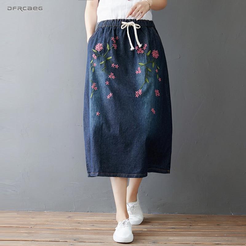 522ce0fd3 Retro Froal bordado Falda larga Jeans 2019 verano Casual Streetwear Vintage  señoras A-Line faldas ...