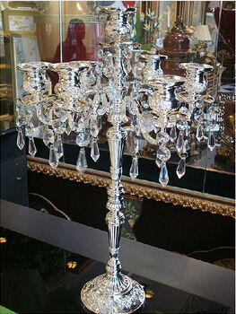 H51cm silver plated candelabra embossed alloy decorative crystal candle holders wedding crystal large decorative lanterns