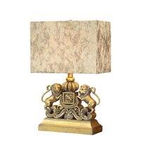 Vintage European Loyal Handmade Resin Lion Fabric Led E27 Table Lamp For Living Room Study Deco