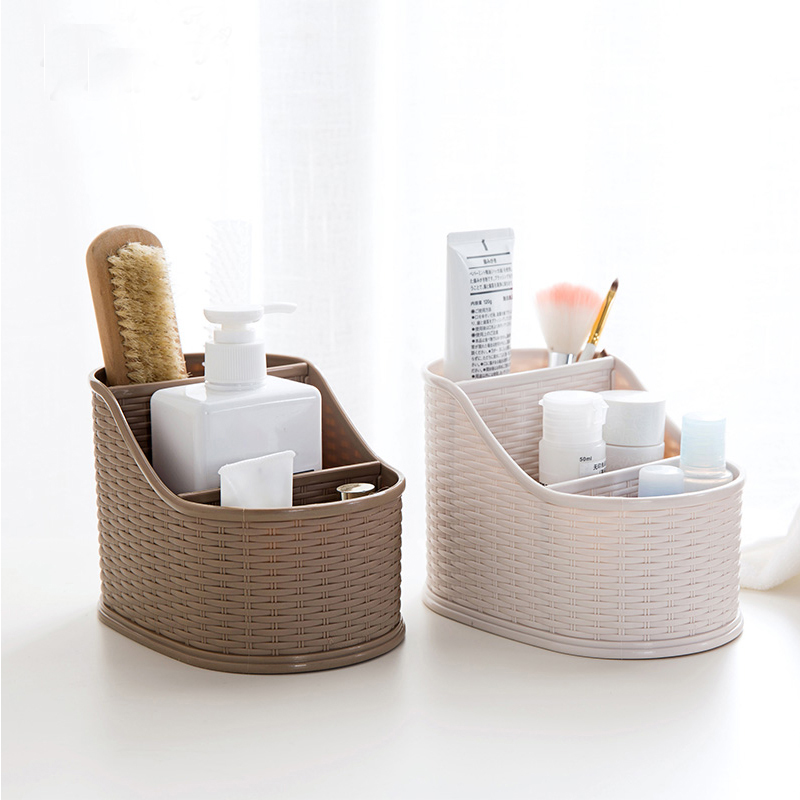 Retro Style desktop box remote control organizer widely use Weave texture storage box cosmetics pen box makeup brushes holder