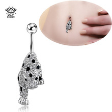 316L Surgical Steel Gem  Belly Ring Leopard Skin Animal Print Ball Piercing  Navel for Women Fashion Body Jewelry 2016 New Brand